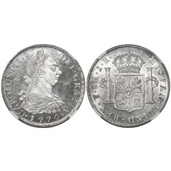 Potosi, Bolivia, bust 8 reales, Charles III, 1774JR, encapsulated NGC MS 64 PL (unique as PL).