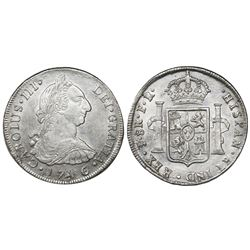 Potosi, Bolivia, bust 8 reales, Charles III, 1786PR.