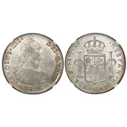 Potosi, Bolivia, bust 8 reales, Charles IV, 1791PR, encapsulated NGC AU 58, finest known in NGC cens
