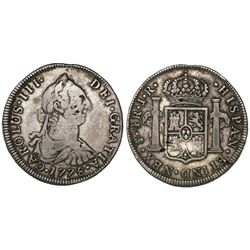 Potosi, Bolivia, bust 4 reales, Charles III, 1778JR, NEX instead of REX in legend, very rare, ex-Sel