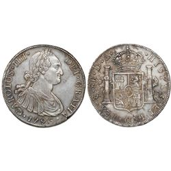 "Santiago, Chile, bust 8 reales, Charles IV, 1796DA, rare ""CRAROLVS"" variety with C/R in king's name."