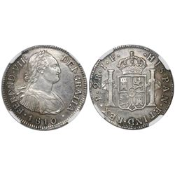 Popayan, Colombia, bust 2 reales, Ferdinand VII (bust of Charles IV), 1810JF, encapsulated NGC XF 40