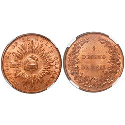 Colombia (struck at Heaton mint), copper 1 decimo de real, 1848, encapsulated NGC MS 64 RD, finest k