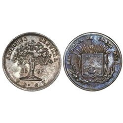 Costa Rica, 25 centavos, 1864GW, small denomination, encapsulated NGC XF 45.