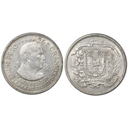 Dominican Republic, 1 peso, 1955, 25th anniversary of Trujillo regime.