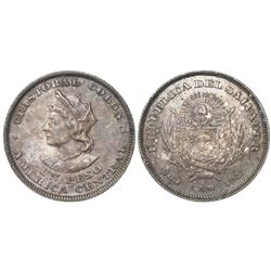 El Salvador (struck in the USA), 1 peso, 1911, Columbus (heavy portrait).