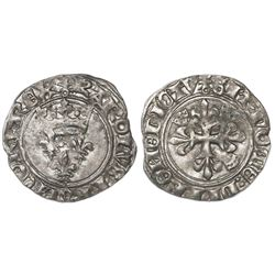 "France (Paris mint), ""florette"" gros, Charles VI, 1380-1422, second emission."