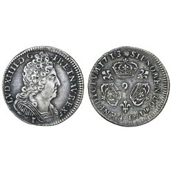France (Rennes mint), 1/10 ecu of three crowns, Louis XIV, 1713, mintmark 9.