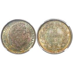 France (Paris mint), 2 francs, Louis Philippe I, 1847-A, encapsulated NGC MS 63.