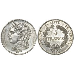 France, white-metal pattern 5 francs, 1848.