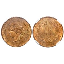 France (Paris mint), bronze 10 centimes, 1882-A, encapsulated NGC MS 65 RB, finest and only specimen