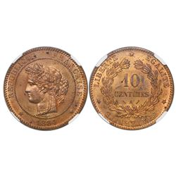 France (Paris mint), bronze 10 centimes, 1884-A, encapsulated NGC MS 64 RB, finest known in NGC cens
