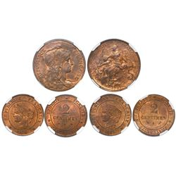 Lot of three French bronze coins in NGC slabs: Paris 5 centimes 1898, Marianne bust, MS 64 RB; Boudr