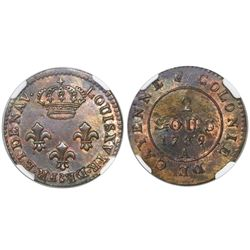 French Guiana (struck in Paris), billon 2 sous, 1789-A, Louis XVI, encapsulated NGC MS 62.