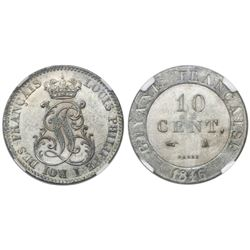 French Guiana (struck in Paris), 10 centimes, 1846-A, encapsulated NGC MS 62.