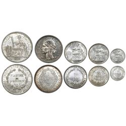 Lot of five French Indo-China silver coins, as follows: 1 piastre de commerce 1926; 1 piastre 1931;
