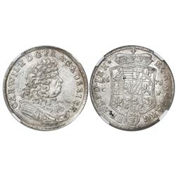 Anhalt-Zerbst, German States, 2/3 thaler, Carl Wilhelm, 1678CP, concave arms, encapsulated NGC MS 62