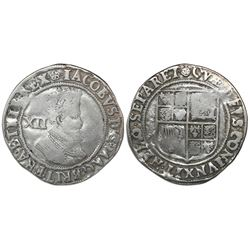 London, England, shilling, James I (third bust), mintmark Tudor rose (1605-6).