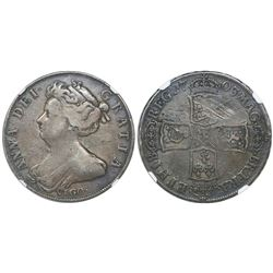 Great Britain (London, England), half crown, Anne, 1703, with VIGO below bust, encapsulated NGC VF 2