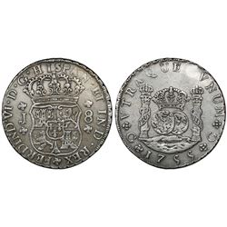 Guatemala, pillar 8 reales, Ferdinand VI, 1755J, large assayer, ex-Richard Stuart.