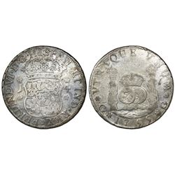 Guatemala, pillar 4 reales, Ferdinand VI, 1755J, small assayer, ex-Richard Stuart.