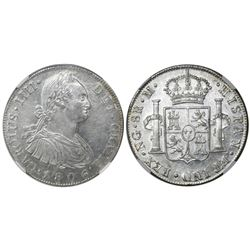 Guatemala, bust 8 reales, Charles IV, 1806/5M, encapsulated NGC AU 58, finest known in NGC census.