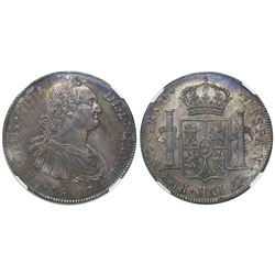Guatemala, bust 8 reales, Charles IV, 1807M, encapsulated NGC MS 62, tied for finest known in NGC ce