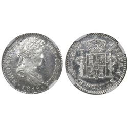Guatemala, bust 1 real, Ferdinand VII, 1818M, encapsulated NGC MS 64, ex-Richard Stuart (stated insi