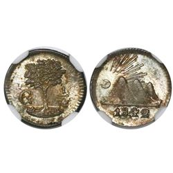 Guatemala (Central American Republic), 1/4 real, 1842/37, encapsulated NGC MS 65.
