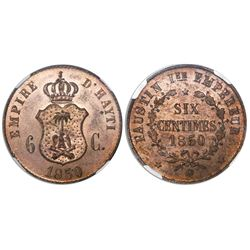 Haiti, copper pattern 6 centimes, 1850, encapsulated MS 64 RB.