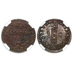 Haiti, copper 1 centime, AN 47 / 1850, encapsulated NGC AU 55 BN, second finest known in NGC census.