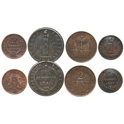 Lot of four Haiti copper coins: 6 centimes AN 43 / 1846; 2 centimes AN 43 / 1846, 1850 and 1894-A.
