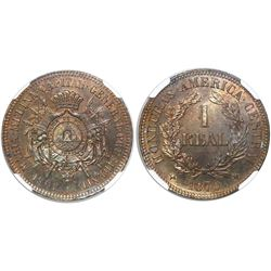 Honduras (struck in Paris), proof copper pattern 1 real, 1870 (TASSET), rare, encapsulated PF 64 BN,