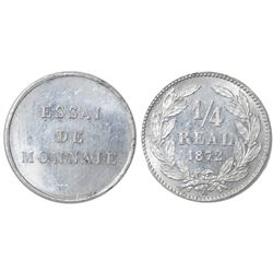 Honduras (struck in Paris), aluminum essai 1/4 real, 1872-A, plain edge.