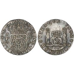 Mexico, City, Mexico, pillar 8 reales, Philip V, 1732F, rare first date, ex-Reijgersdaal.