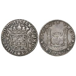 Mexico City, Mexico, pillar 8 reales, Philip V, 1747MF.