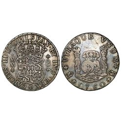 Mexico City, Mexico, pillar 8 reales, Charles III over Ferdinand VI, 1760MM, rare.