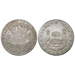 Mexico City, Mexico, pillar 8 reales, Charles III, 1761MM, tip of cross between H and I.