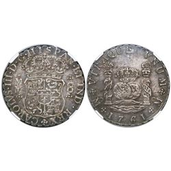 Mexico City, Mexico, pillar 8 reales, Charles III, 1761MM, tip of cross between I and S, encapsulate