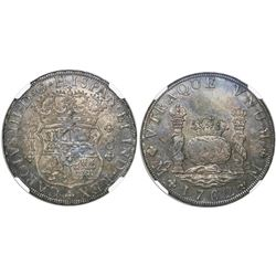 Mexico City, Mexico, pillar 8 reales, Charles III, 1762/1MM, rare, tip of cross between H and I, sin