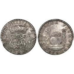 Mexico City, Mexico, pillar 8 reales, Charles III, 1762MM, tip of cross between I and S.