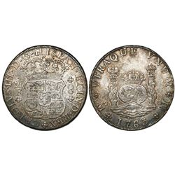 Mexico City, Mexico, pillar 8 reales, Charles III, 1763/2MF.