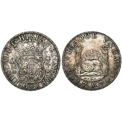 Mexico City, Mexico, pillar 4 reales, Ferdinand VI, 1757MM.