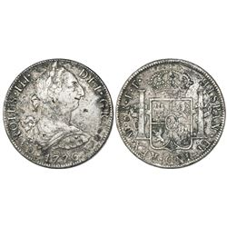 Mexico City, Mexico, bust 8 reales, Charles III, 1776FF, with chopmarks as from circulation in the O