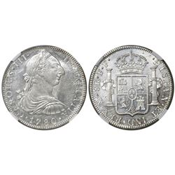 Mexico City, Mexico, bust 8 reales, Charles III, 1780FF, encapsulated NGC MS 61.