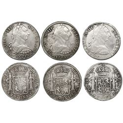 Lot of three Mexico City, Mexico, bust 8 reales, Charles III, 1781FF, 1784FM and 1786FM.