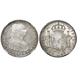 Mexico City, Mexico, bust 8 reales, Charles IV, 1798FM, encapsulated NGC MS 62, tied for finest know