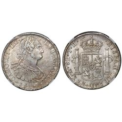 Mexico City, Mexico, bust 8 reales, Charles IV, 1804TH, encapsulated NGC MS 62.