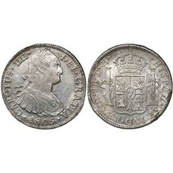 Mexico City, Mexico, bust 8 reales, Charles IV, 1805TH.