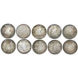 Lot of five Mexico City, Mexico, bust 8 reales of Charles IV, as follows: 1796FM, 1804TH, 1805TH, 18